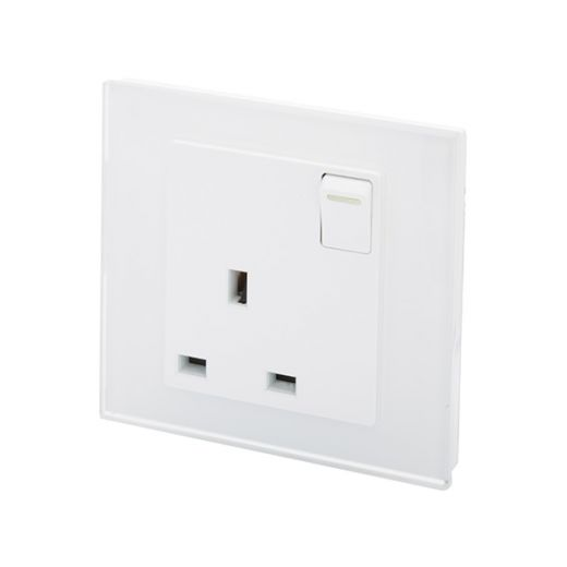 Crystal PG 13A Single Plug Socket with Switch White