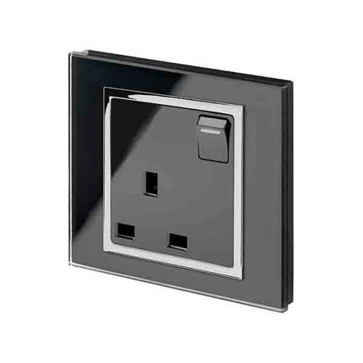 Crystal CT 13A Single Plug Socket with Switch Black