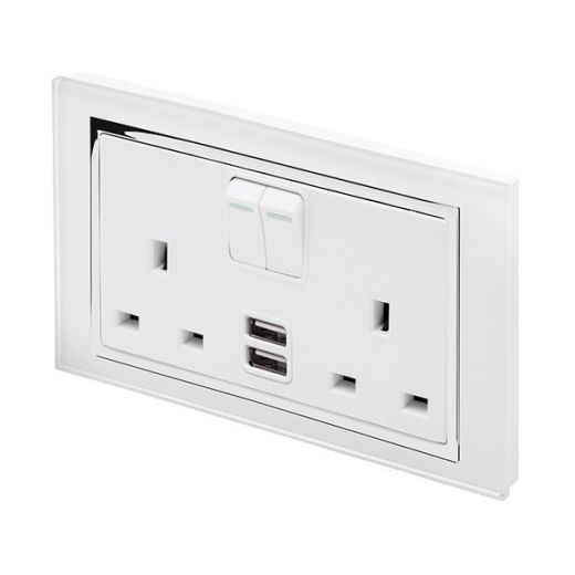 Crystal CT 2.1A USB & 13A DP Double Plug Socket with Switch White