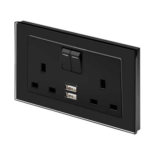 Crystal PG 2.1A USB & 13A DP Double Plug Socket with Switch Black