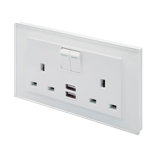 Crystal PG 2.1A USB & 13A DP Double Plug Socket with Switch White