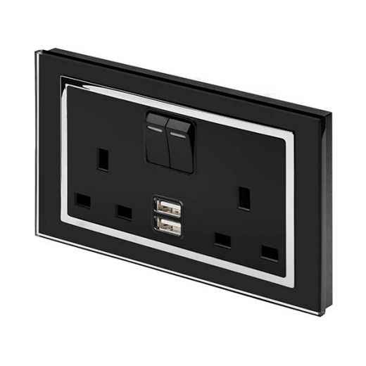 Crystal CT 2.1A USB & 13A DP Double Plug Socket with Switch Black