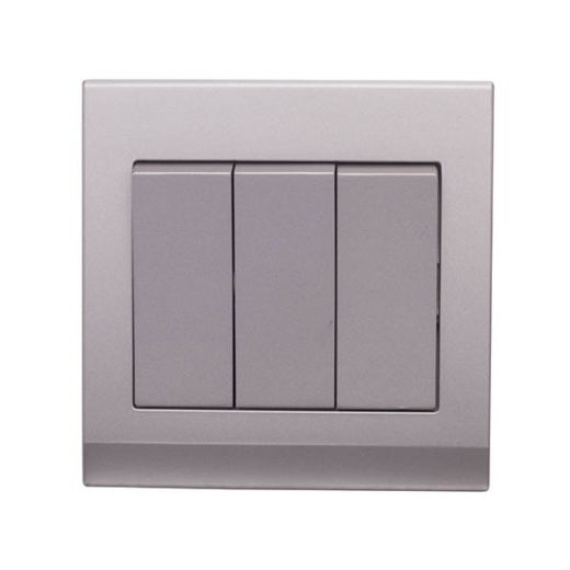 Simplicity Mechanical Light Switch 3G Mid Grey