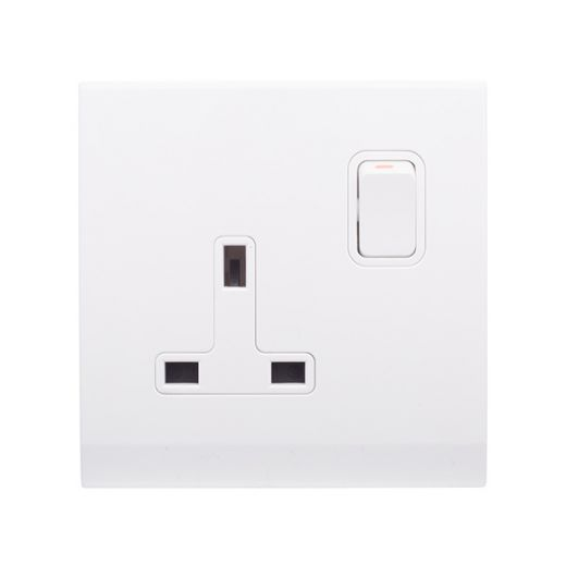 Simplicity 13A DP Single Plug Socket with Switch White