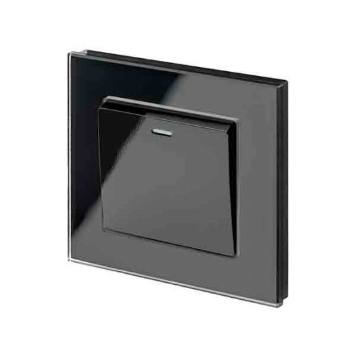 Crystal PG 1G Rocker Light Switch Black
