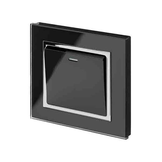 Crystal CT 1G Rocker Light Switch Black