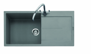 Canis 100, Geotech Granite Sink and Drainer, Single Bowl, Universal, PG - Pebble Grey