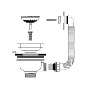 Waste & Overflow Kit, Suitable for Colorado 100 and Yorkshire sinks, Stainless Steel