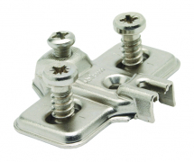 MODUL, Cruciform Mounting Plate, Nickel Plated Pressed Steel, Suitable For 15mm Carcasses, Pre-Mounted With Euro Screws
