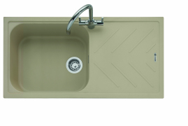 Veis 100, Geotech Granite Sink and Drainer, Single Bowl, Universal, DS - Desert Sand