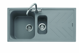 Veis 150, Geotech Granite Sink and Drainer, 1.5 Bowl, Universal, PG - Pebble Grey