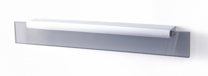 SHARD, Glass Pull Handle, 256mm Centres, Chrome / Grey Glass