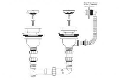 Waste & Bowl Connection Kit, Stainless steel, 2 x 90mm basket strainer wastes, round overflow
