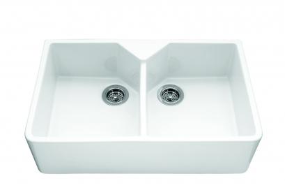 Sandown, Double Bowl Ceramic / White