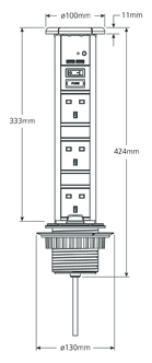 SensioPod+, Pull Up Power Socket, Black Nickel