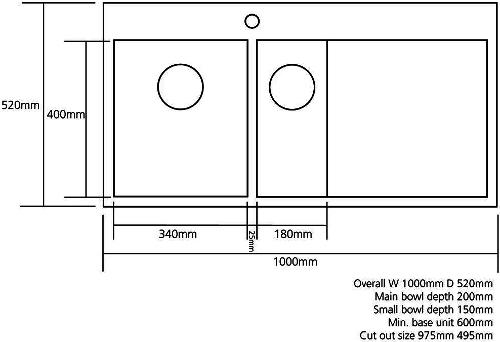 Cubit 150, 1.2mm, Satin Stainless Steel, 1.5 Bowl, Left Handed