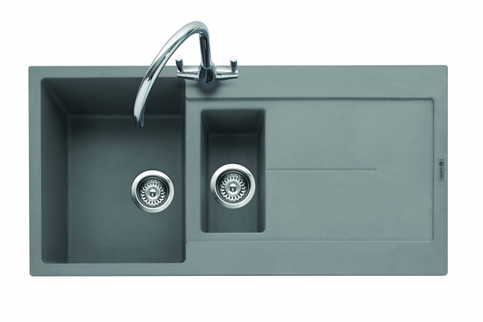 Canis 150, Geotech Granite Sink and Drainer, 1.5 Bowl, Universal, PG - Pebble Grey