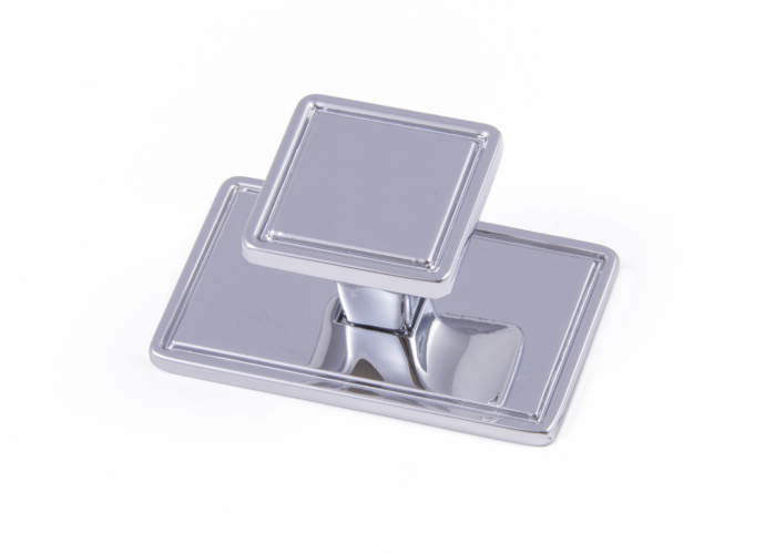 WINDSOR, Square Knob & Backplate, Chrome