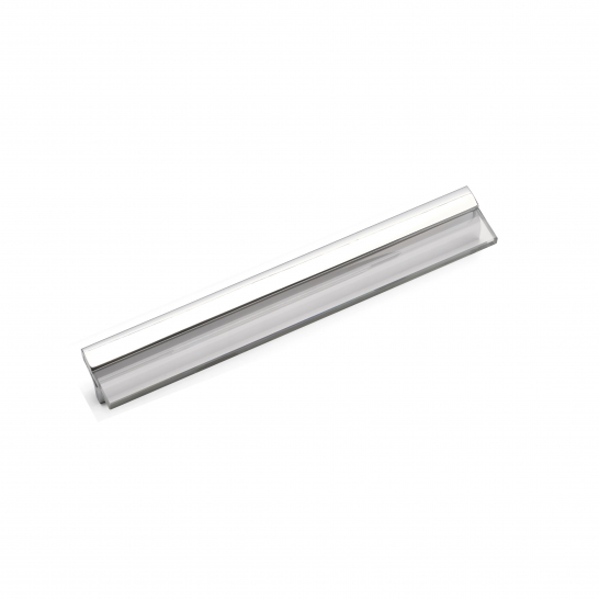 BARBICAN, Glass Pull Handle, 256mm Centres, Chrome / Clear Glass