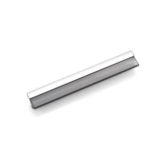BARBICAN, Glass Pull Handle, 256mm Centres, Chrome / Grey Glass