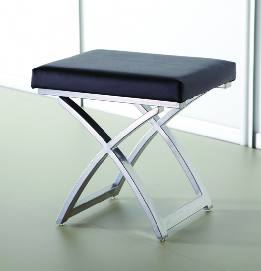 Black Stool top faux leather