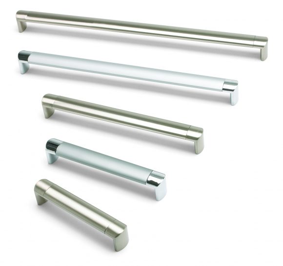 Oval tube, D handle, 224mm centres, aluminium tube