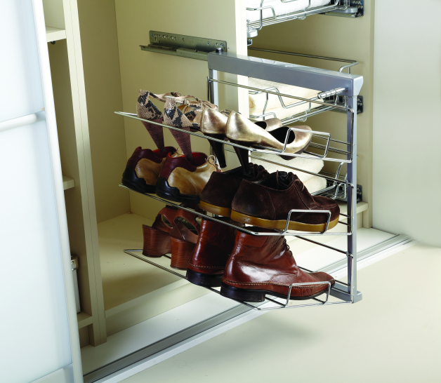 Soft closed pull-out 3 tier shoe rack