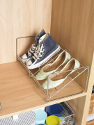Stackable shoe rack complete with brackets and clips