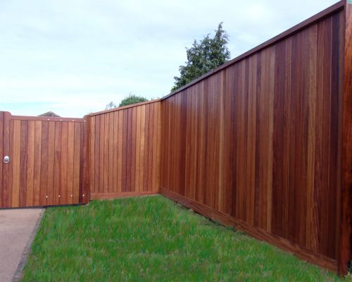 Tongued & Grooved Board Fencing in Iroko