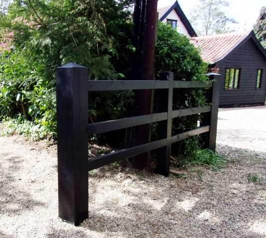Post and 3 rail in Black Barn paint