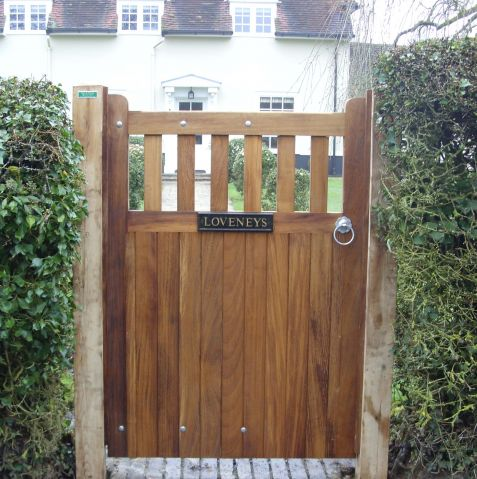Brett pedestrian gate in Iroko with oak posts
