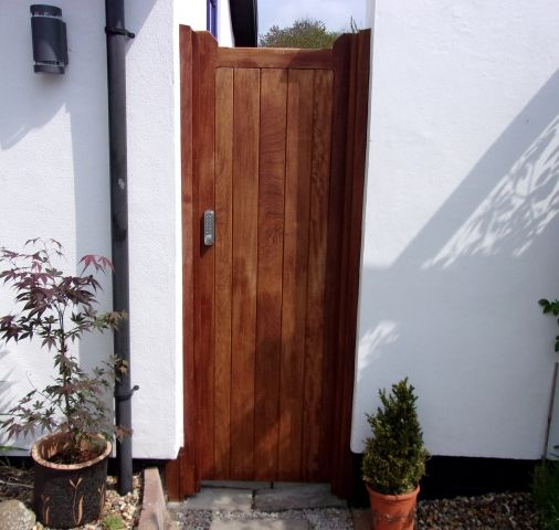 Blyth pedestrian in oiled Iroko with keypad handle