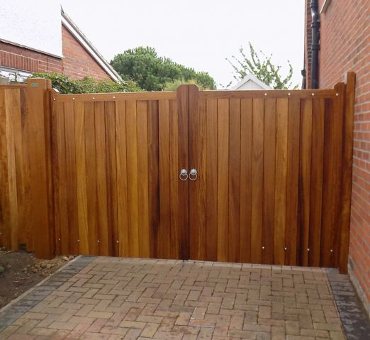 Blyth gates in Iroko with osmo oil