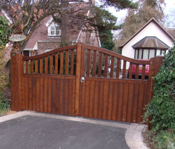 Stour gates finished in Sadolin African Walnut