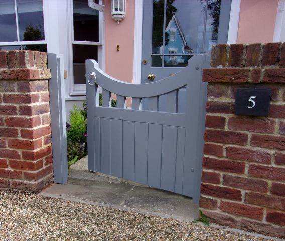 Lavenham gate in larch painted with Little Greene Mid Lead
