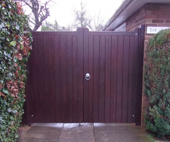 Blyth Gates in Larch finished with Sadolin Jacobean Walnut