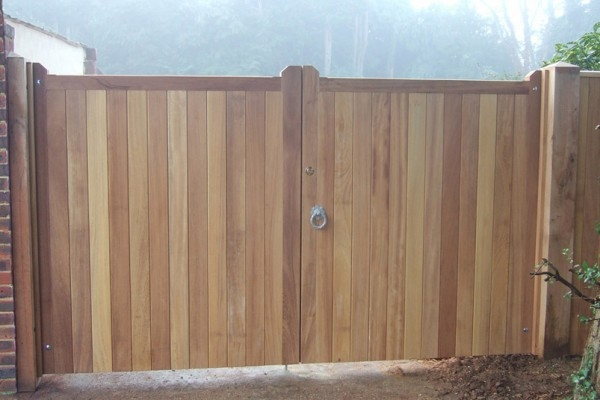 Blyth gates in  untreated Iroko hardwood