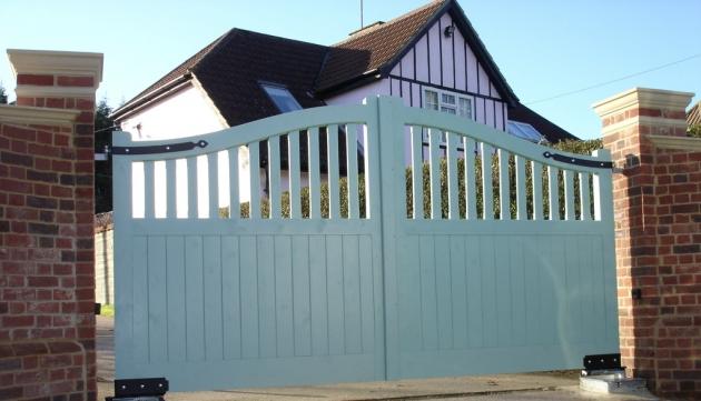 Newmarket gates in stained softwood