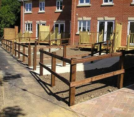 Post and 2 rail fencing
