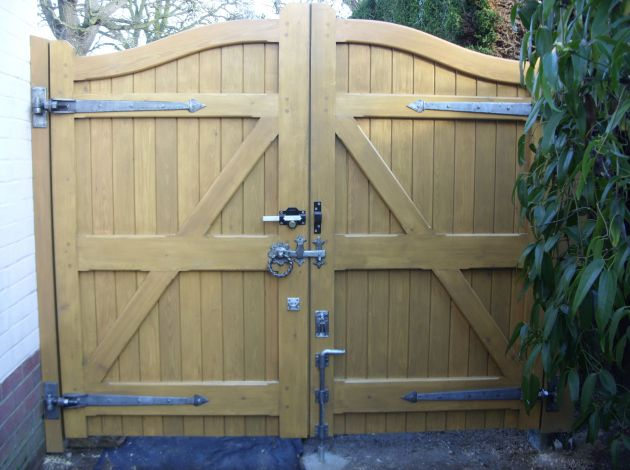 Larch Deben gate in Sadolins Light Oak