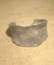 Silver Italian Wave Filigree Glitter Cuff