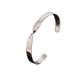 Silver Simple Mid-Twist Bangle
