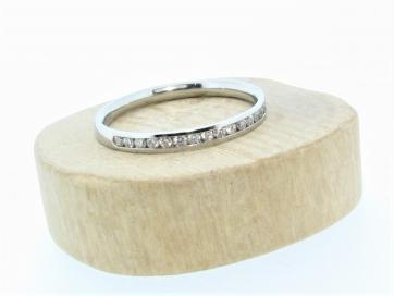 Palladium 2mm Half Channel Set Diamond Ring