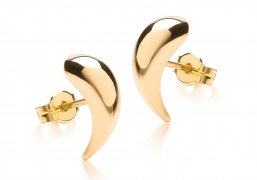 9ct Yellow Gold Curve Stud Earrings