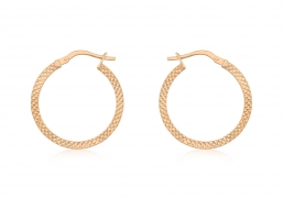 9ct Rose Gold Cobra Textured Creole Hoops 20mm