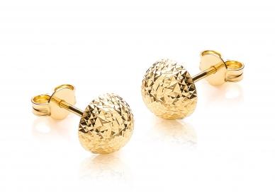 9ct Yellow Gold Diamond Cut Half Ball Stud Earrings