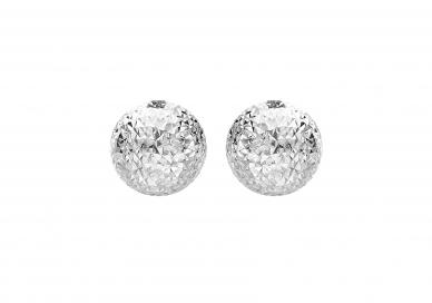 9ct White Gold Diamond Cut Half Ball Stud Earrings