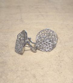 Silver Italian Wave Filigree Glitter Earrings