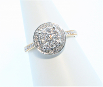 18ct Rose Gold and White Gold Diamond Cluster Ring