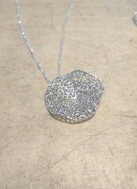 Silver Italian Wave Filigree Glitter Pendant & Chain